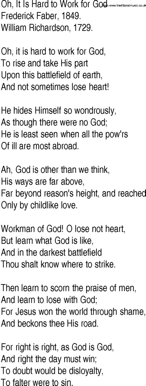 Hymn and Gospel Song Lyrics for Oh, It Is Hard to Work for