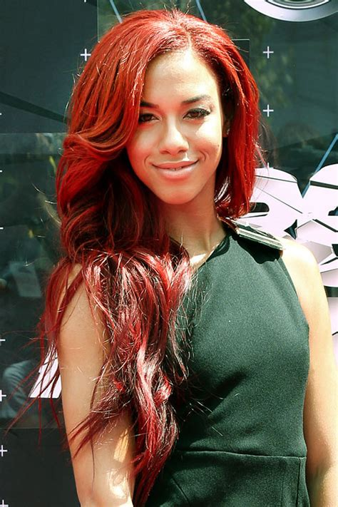 Natalie La Rose Wavy Red Side Part Hairstyle | Steal Her Style