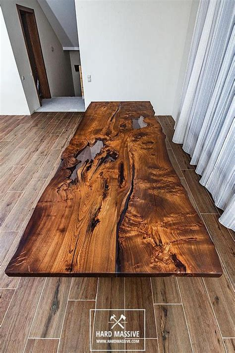 Modern wooden dining table made of solid wood Ash with a