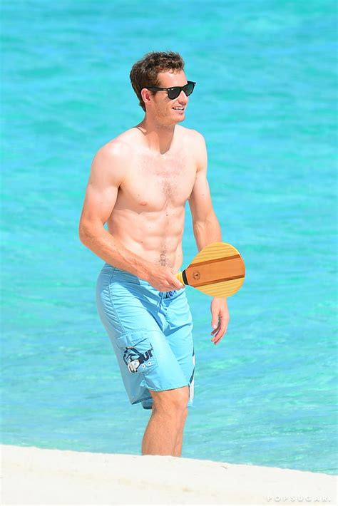 Andy Murray went shirtless on the beach