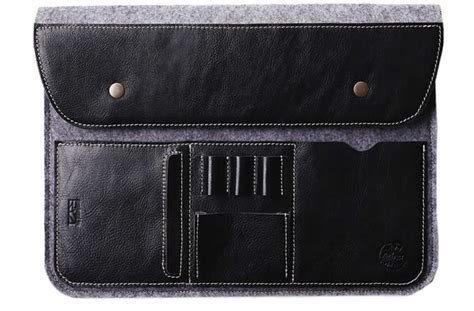 Gray Felt Case Leather Front Bag Magnetic Button Sleeve