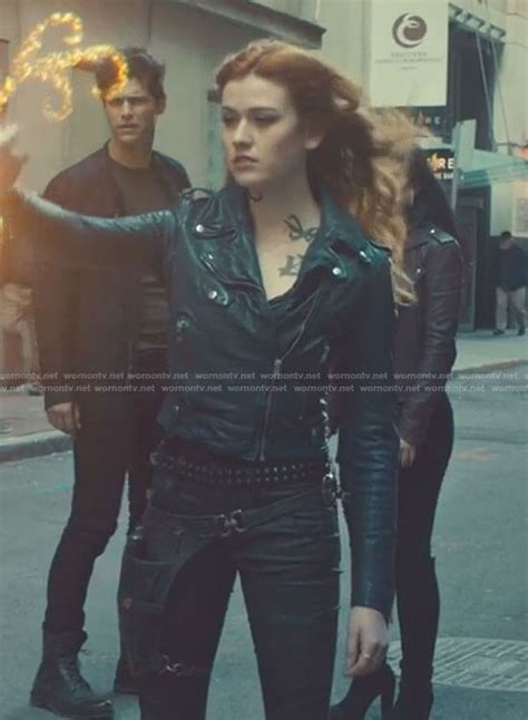 WornOnTV: Clary's navy cropped moto jacket and pants on